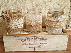 Burlap Mason jar Rustic weddingSet of by ClaudiasCuteCouture