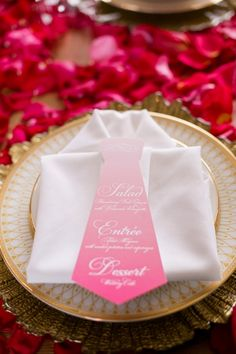 Ruffles And Roses Wedding Inspiration - The Wedding Chicks Wedding Napkins, Wedding Menu, Rose Wedding, Wedding Table, Diy Wedding, Wedding Ideas, Wedding Foods, Wedding Vintage, Wedding Catering
