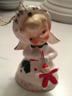 vintage Napco christmas angel bell ornament
