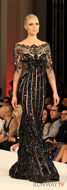 Esquiste Sexy & Stunning Black Embellished Gown by Michael Cinco