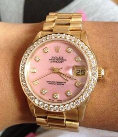 gold/pink Rolex watch