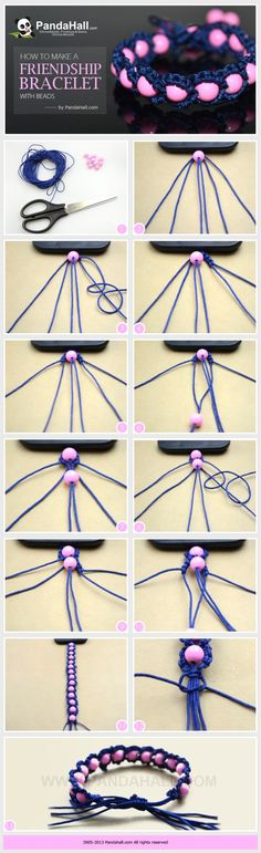 WOW +++ TUTORIAL +++ macramé +++ Ideas on how to make a friendship bracelet with beads; as same as the trendy Shamballa bracelet, you can make these fabulous friendship bracelet more distinctive simply by adding some beads in. Seed Bead Bracelets Tutorials, String Bracelet Patterns, Beaded Bracelets Tutorial, Embroidery Bracelets, Friendship Bracelet Patterns, Macrame Tutorial, Diy Friendship Bracelets With Beads, Embroidery Floss Crafts, Paracord Tutorial