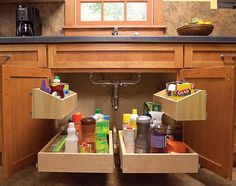 The storage space under the kitchen sink is usually dark and dingy. These roll out trays will get everything out in the open and let you find exactly what you need at a glance. http://hative.com/creative-under-sink-storage-ideas/