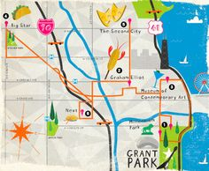 Map of Chicago attractions made for the Lollapalooza Music Festival