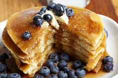 Pancakes with blueberries sliced.