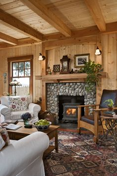 Think small! This cottage on the Puget Sound in Washington is a beautiful example of a smart cabin design. Think small! This cottage on the Puget Sound in Washington is a beautiful example of a smart cabin design. Log Cabin Living, Log Cabin Homes, Log Cabins, Cabin Design, Cottage Design, Cabin Fireplace, Fireplace Facing, Fireplace Modern, Rustic Fireplaces