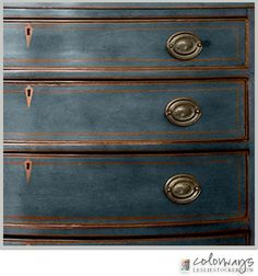 A Stunning Blue | Colorways with Leslie Stocker I taped a small pinstripe on the face of the drawers when I painted, to retain a bit of the natural color. To tie all the detailing together, I left all edges exposed.