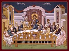 Holy Thursday is the saddest day of the Holy Week and in the Greek Orthodox Church the events of Jesus Christ's last day on Earth are revived. Religious Icons, Religious Art, Holy Week Days, Holy Wednesday, Greek Icons, Byzantine Icons, Biblical Art, Last Supper, Holy Cross