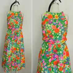 NEW IN THE SHOP! Vintage 1980s Bright Floral Sleeveless Dress (32/24/46) http://ift.tt/1lP6fC1