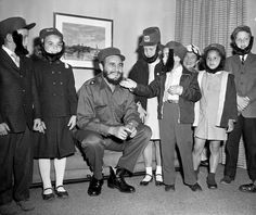 Fidel Castro and his American admirers: When New York went crazy for the Cuban leader. Youngsters admire Fidel Castro's beard during a visit to his hotel. The children attended a Queens school with Castro's son. The boy was secretly living In New York while his father led the Cuban revolution. Left to right: Gene Wolf, Kathy Johnston, Kathy Tableman, David Friedlander, Karen Leland and Robert Boyle. Image: George Mattson/NY Daily News Archive via Getty Images