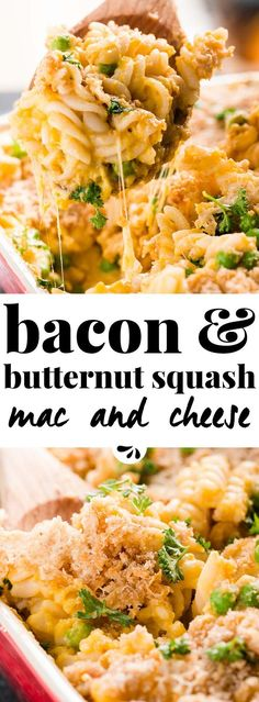 This easy baked butternut squash mac and cheese is the ultimate comfort food recipe for fall. Made with low fat milk, fat free chicken broth and loaded with healthy peas - nobody is going to know you lightened this one up! Mozzarella makes it creamy and sharp cheddar brings great flavor, while the bacon makes it extra special. Serve this pasta casserole for dinner and you'll have cleaned plates all around - this recipe is loved by kids and adults alike!