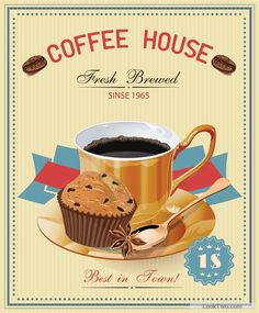 Vintage style coffee house poster vector material free vector download