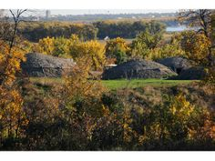 On-A-Slant Earthlodge Village located at Fort Lincoln State Park near Mandan, North Dakota.
