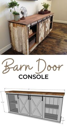 How to build barn door console or buffet - free plans by ANA-WHITE.com. #anawhite #anawhiteplans #nikkigrandy #diy #diyfurniture #barndoor #farmhouse #console #diyconsole Refurbished Furniture, Farmhouse Furniture, Furniture Plans, Diy Furniture, Farmhouse Decor, Diy Wood Projects, Home Projects, Woodworking Projects, Living Room Playroom