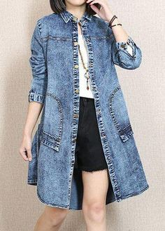 Buykud is a professional designer for woman casual loose linen cotton clothes, you can find all kinds of women linen vintage coats and irregular casual loose long coats. Denim Fashion, Fashion Outfits, Fashion Coat, Blue Jean Dress, Romantic Outfit, Denim Coat, Blazer, Mantel, Designer