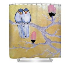Love Birds Yellow Shower Curtain featuring the painting A Spring Scene by Jilian Cramb - AMothersFineArt