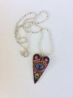 Eye Pendant Heart Jewelry Valentine Gift Mosaic by camillaklein