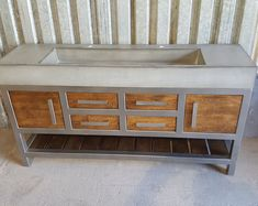 60 Dual Ramp Bowl Vanity with Rough Cut Pine Stand 60 Vanity, Vanity Cabinet, Concrete Sink Bathroom, High Strength Concrete, Slatted Shelves, Maple Cabinets, Farm Sink, Popular Colors, Stain Colors