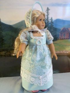 Regency Aqua Dress and Bonnet Fits American Girl Caroline | eBay