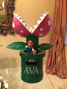 Valentine Box - Mario Snapper Plant Made from 2 circle boxes and 2 half circle foam pieces from Hobby Lobby.