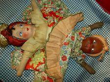 "Lovely 1930s vintage BLACK /WHITE ""topsy turvy"" PEROTTI So. American cloth doll"