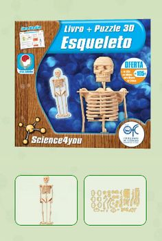 LIVRO + PUZZLE 3D - ESQUELETO  Descobre: - Como é constituído o esqueleto do teu corpo - O que é uma articulação e para que serve - A função dos ossos - As alterações que o esqueleto humano sofre ao longo da vida