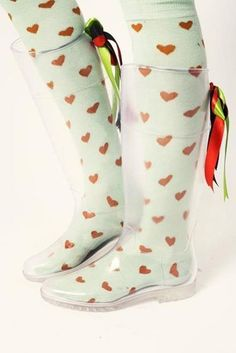 Clear Wellies from Kling.imagine the incredible socks you could wear! Sock Shoes, Shoe Boots, Shoe Bag, Mud Boots, Clear Rain Boots, Transparent Boots, Cute Socks, Awesome Socks, Mode Style