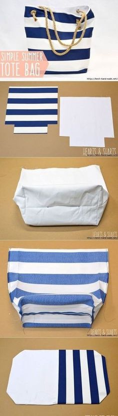 DIY Bags for Summer - DIY Fabric Basket - Simple Ideas for Beach and Pool . - DIY bags for summer – DIY fabric basket – simple ideas for the beach and pool … - Sewing Projects For Beginners, Sewing Tutorials, Sewing Hacks, Sewing Crafts, Sewing Patterns, Sewing Ideas, Diy Projects, Sewing Diy, Bag Tutorials