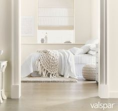 KC: Love this white for bathroom and Kyla's room. 10 Best White Paint Colors—According to Experts Best White Paint, White Paint Colors, All White Bedroom, White Rooms, Ivory Bedroom, Valspar Colors, Valspar Paint, Tranquil Bedroom, Dream Rooms