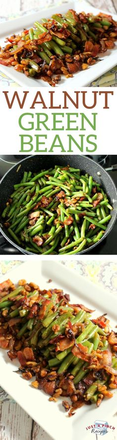 Crunchy from the walnuts and smoky from the bacon, this green beans recipe is an  impressive (but easy!) side dish. #Thanksgiving #greenbeans