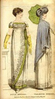 Fashions from 1806. I like the asymetrical sweep of the dress on the left.