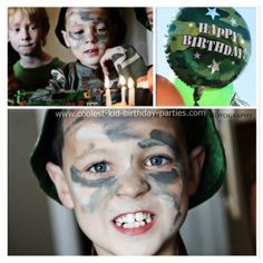 Birthday Cake and Camo Face Paint: I wanted to do something very special for my son this year so I went all out and surprised him with a Bootcamp Birthday party. I created the invitations Army Birthday Parties, Army's Birthday, Birthday Ideas, Army Party Decorations, Kids Party Themes, Party Ideas, Gi Joe, Camo Face Paint, Class Birthdays