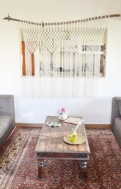Macrame curtain / room divider / wall hanging with natural
