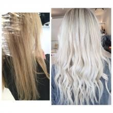 Paris Nesbit (@hairbyparisrose) of viva la blonde, Perth, Australia, specializes in blonde hair. This first time client had multiple shades throughout her hair but was looking for a clean white blonde. Nesbit notes that it took two appointments to get her to her dream shade. Here she shares the HOW TO for this gorgeous transformation: