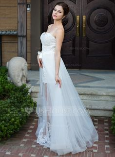A-Line/Princess Sweetheart Floor-Length Detachable Organza Satin Wedding Dress With Lace Beading Bow(s) (008026096)