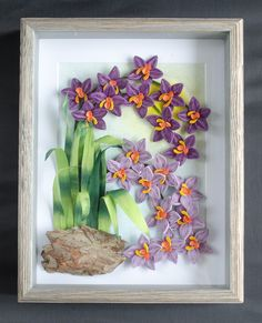 Beautiful unique handmade orchids under glass. Birthday milestone gift for women wife mom grandma daughter Quilling Patterns, Quilling 3d, Quilling Flowers, Paper Quilling Tutorial, Paper Earrings, Purple Orchids, Mom And Grandma, Shadow Box Frames, Milestone Birthdays