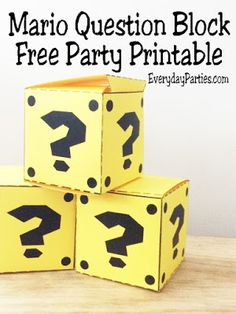 Get a great reward at your Super Mario birthday party with this printable Mario Question block.  This block party favor is great for a Arcade Video game party, 80s party, or Mario party.  It's simple to print and put together, plus it's big enough to add all your party favors inside.