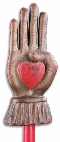"""Anonymous Works: Circa 1880's """"Heart in Hand"""" Odd Fellows Staffs"""