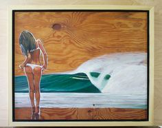"""An original oil painting on aged plywood. Handmade poplar frame polished with 5 layers of tung oil 18.75"""" x 22.75"""" x 2.75""""  Inspired by the beauty of the female form and a wave's force of nature."""