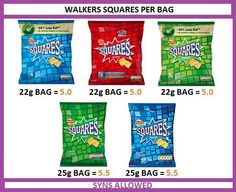 Square crisp syns Slimming World Syns List, Slimming World Lunch Ideas, Slimming World Treats, Slimming World Recipes, Crisps Syns, Slimmimg World, Fat Fighters, Snacks For Work, Skinny Girls