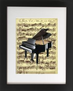 "Piano on Sheet Music. Matted with Wood Frame 8"" X 10"". This original art print produced exclusively by CherryPic Junction features a Classic Grand Piano over Vintage Sheet Music. It is handmade in small production runs. The print comes in an 8"" X 10"" black wooden frame with white matting. The frame is ready to display in your home right out of the box! This is a dual purpose frame. You can choose to hang it on a wall or display it freestanding on a shelf, table or mantle. It's a beautiful..."