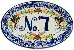26x20 letrero, aviso, número para casa en ceramica talavera Glazes For Pottery, Pottery Art, Ceramic House Numbers, Ceramic Houses, Address Plaque, Mosaic Crafts, Plates And Bowls, Stencil, Ceramic Painting