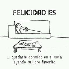 Quedarse dormido en el sofá leyendo.