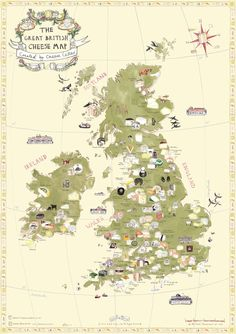 Cheese Cellar — Harvey & Brockless Map Of Britain, How To Make Cheese, Culinary Arts, Wine Cheese, English Cheese, British Cheese, Best Of British, Travel Illustration, Raw Milk