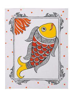 Fish Madhubani Greeting Card x Worli Painting, Fabric Painting, Fabric Art, Fabric Paint Designs, Madhubani Art, Madhubani Painting, Kalamkari Painting, Indian Art Paintings, Abstract Paintings