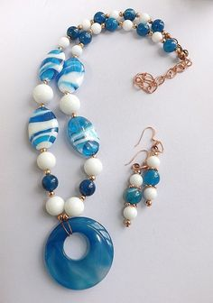 Blue Agate Donut Necklace Earrings Set  by PeytonRoseTreasures