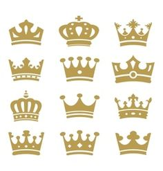 Crown collection - silhouette vector Royalty free