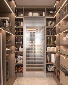 Kitchen Pantry Design, Kitchen Organization Pantry, Modern Kitchen Design, Kitchen Interior, Pantry Ideas, Home Room Design, Dream Home Design, House Design, Pantry Room