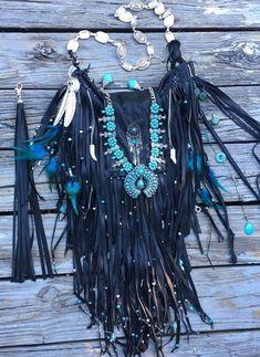 Handmade Black Leather Bag Hippie Fringe Boho Hobo Native American Purse B Joy  