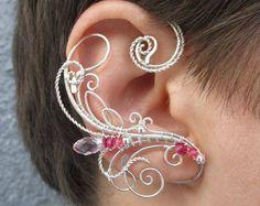 Pair of elven ear cuffs Pink Lake Elf - Ear cuff - Elf ears - Fairy ear cuffs - Ear cuff no piercing - Ear wrap Ear Jewelry, Cute Jewelry, Jewelry Crafts, Beaded Jewelry, Jewelery, Jewelry Making, Unique Jewelry, Wire Ear Cuffs, Elf Ear Cuff